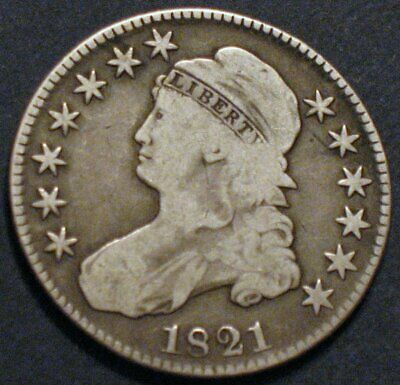 1821 O-104a R1 Capped Bust Half Dollar, About Fine Condition–Reasonably Priced!