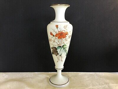 Vintage Opaque Milk Glass Beautifully Hand Painted Floral With Gold Trim Vase