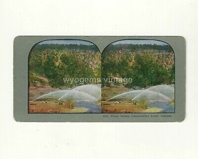 Stereoview Card Placer Mining Uncompahgre Creek Colorado Gold Mining No. 1240