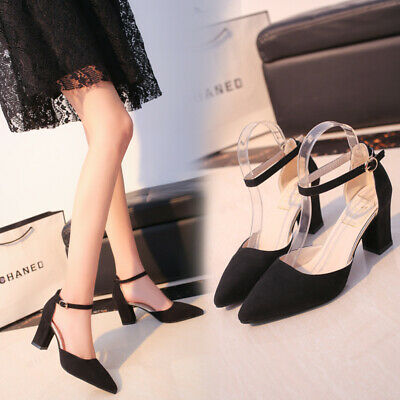 New Womens Pointed Toe Ankle Strap Dress Shoes D'Orsay Pumps High Heel Sandals