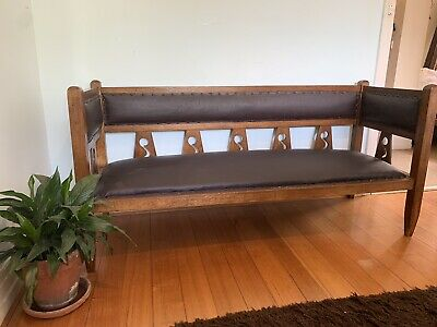 Lovely Mission Style, Arts and Crafts Oak Bench Seat / Love Seat