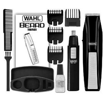 Wahl 5537-1801 Cordless Battery Operated Beard Trimmer with Bonus Ear Nose...