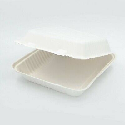 "Take away Containers 9x9x3"" Sugarcane Clamshell Bagasse Tableware Compostable"