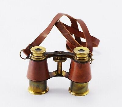 Beautiful Antique Victorian Marine Brass Leather Binocular