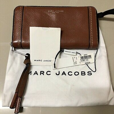 Marc Jacobs Ladies Women's Leather Cognac Zip Wallet Good Used Condition RRP$369