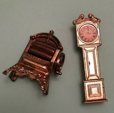 Doll House Brass Items Old Fashioned Washing Mangle / Grand Father Clock