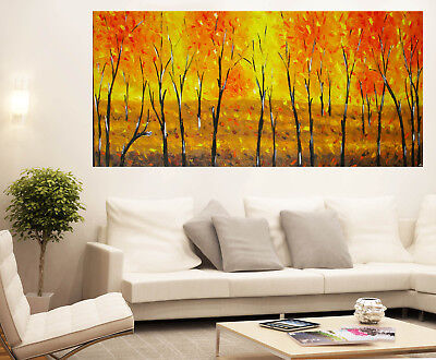 original Art Oil Painting large landscape bush yellow flower tree abstract
