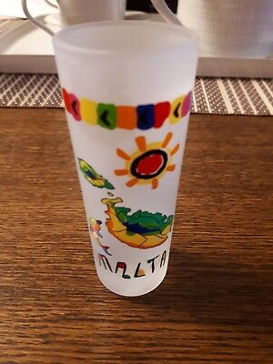 Colourful MALTA tall shot glass! Perfect collectable gift! Collectors item!