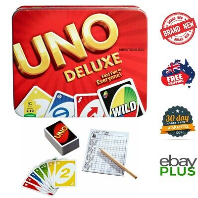 UNO DELUXE Card Game with Tin Case 108 Cards NEW