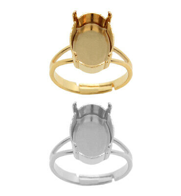 Brass Adjustable Ring Bases for 4120 Oval 14x10mm Fancy Crystals * Choose Color