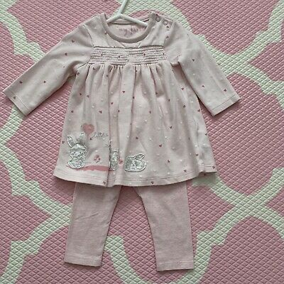 Mothercare Girls Pink 2 Piece Top & Leggings Outfit - 3-6 Months - Great Cond.