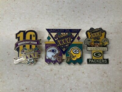 Lot Of 3 NFL Green Bay Packers vs New England Patriots Super Bowl Pins!
