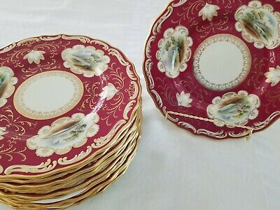 "Antique Copeland Spode Red Transfer Flowers Pattern Bread Plates 5 1//2/"" 1925-26"