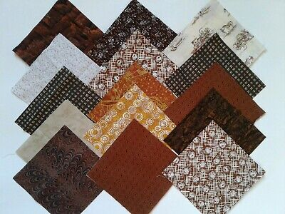 "100/5 "" Brown and Beige Fabric Quilting Squares Charm Pack Lot Blocks 100 pcs"
