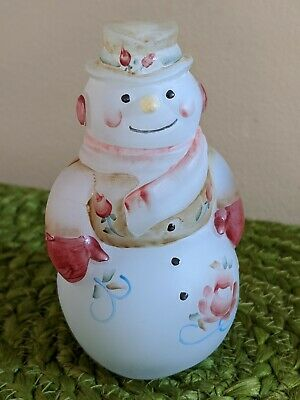 "Fenton Snowman Blue Satin Pink Victorian Roses Hand painted by K S Buskirk 4"" H"