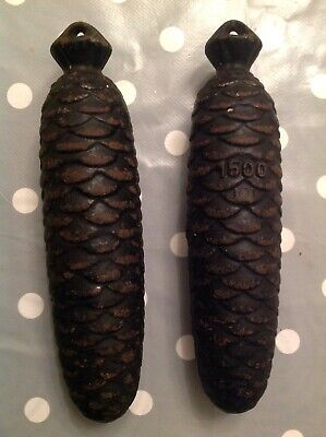 Cuckoo Clock Weight Antique Pine Cone Pair Each 1500g. 190mm Long