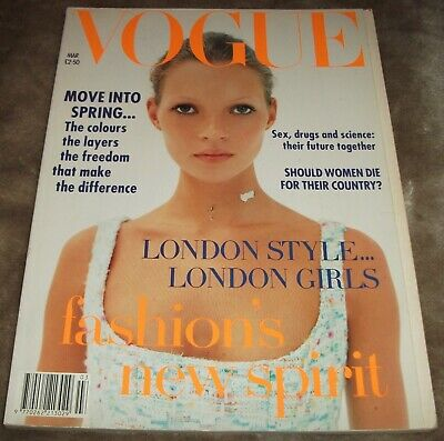 VOGUE MAGAZINE March 1993 KATE MOSS COVER Corinne Day CARLA BRUNI Vintage UK