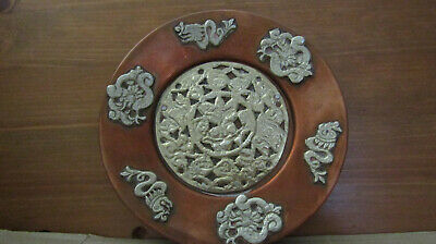 19 Century Chinese Copper Plate Decorated With White Metal Dragons And Flowers.
