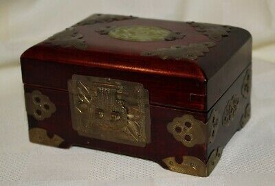 Antique Chinese Wood Brass Jewelry Box Chest Carved Nephrite Jade Panel w/ Silk