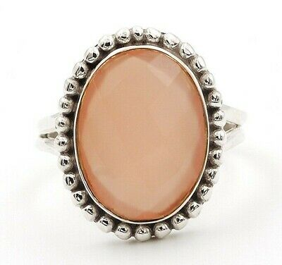 Faceted Rose Quartz 925 Solid Sterling Silver Ring Jewelry Sz 9 D24-3