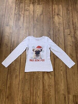 Kids Girls Christmas Pug Top Age 10-11 Years Primark