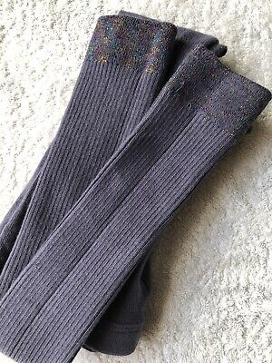 Mini BODEN Girls Ribbed Footless Multi Sparkle Cuff Tights, Anthracite,s11-12yr