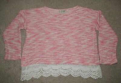Girl's Next pink and white frill jumper top 7 years
