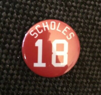 """Scholes 18 Badge 25mm 1"""" Pin Button Badge Manchester United FC Football"""