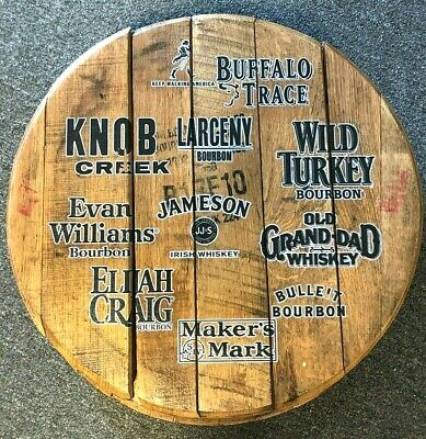 Various Whiskey and Bourbon Brands Barrel Head Bar Sign