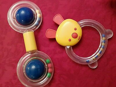 Two 2 coloured first baby rattles