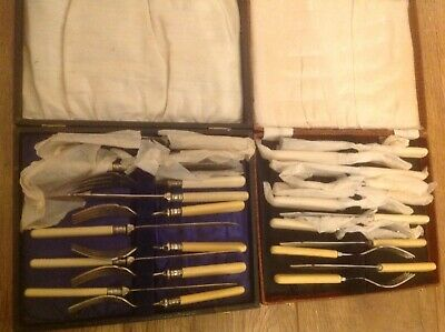 Antique Fish Knives and Forks Two Boxes