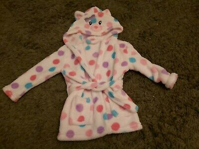 Baby Girls Spotty Cosy Dressing Gown Aged 6/12 Months