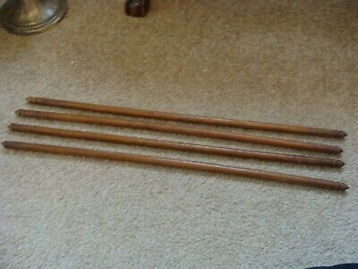 "Antique Vintage Wooden Curtain Rod w Turned Ends 27"" Set of 4 c1900"