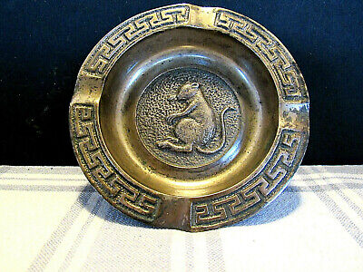 Art Deco Bronze Rat Decorated Ashtray W/Greek Key Border