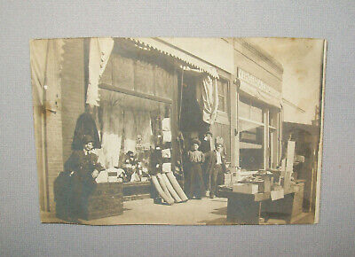 Antique Vtg Ca 1900 Real Photo Post Card Virginia Enquirer Office Illinois Store