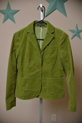 Theory V-Neck Collared Three Button Blazer Leaf Green Corduroy Women's size 2