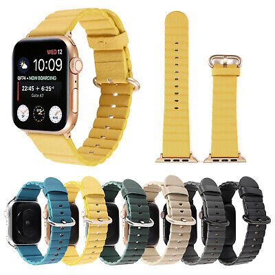 Sport Striped Leather Strap for Apple Watch Band Series 5 4 3 2 38/40/42/44 Belt