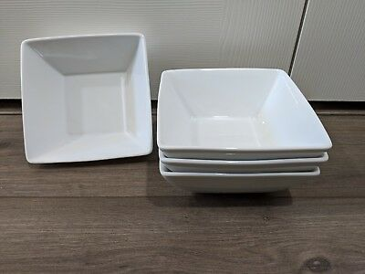 4 Home Trends CANOPY WHITE  Square Soup Cereal Bowls Set of Four Dinner EUC