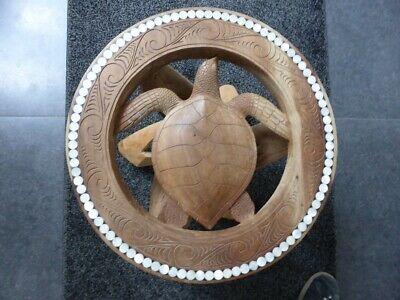 Soloman Islands Wood Carving - Very Rare & Unique Turtle & Mother of Pearl Table