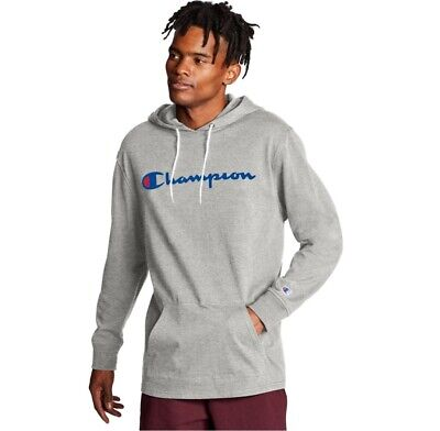 Champion Logo Men's Middleweight Long-Sleeve Pullover Hoodie Shirt Gray NEW L