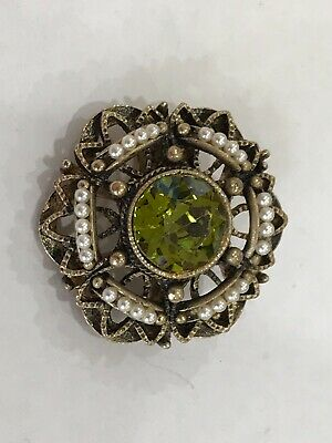 Antique jewellery brooch green rhinestone and pearl 1950s vintage good condition