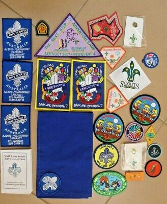 Lot  Scout Lone Scout Embroidered Souvenir Cloth  Badges  Scarf Metal Pin