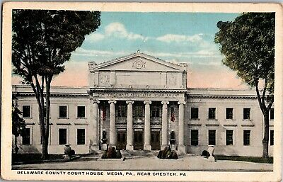 Delaware County Court House, Media PA Near Chester PA Vintage Postcard N05