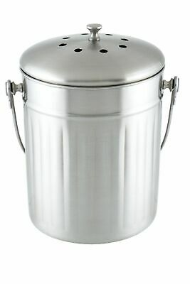 NEW D&W Stainless Steel Ventilated Lid Holes Waste Compost Bin 18x18x27cm 5L