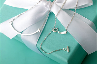 "TIFFANY & CO. Sterling Silver Mini Smile Pendant (18"" Adjustable to 16"")"