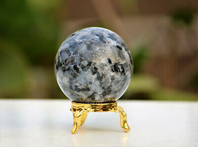 Large 45MM Natural Black Larvikite Crystal Healing Energy Reiki Stone Sphere