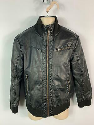 Girls H&M Black Faux Leather Casual Zip Up Biker Jacket Coat Kids Age 7/8 Years