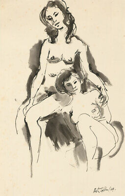 Peter Collins ARCA - Signed 1964 India Ink, Two Sitting Life Models