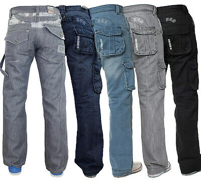 Mens Combat Cargo Trousers Denim Casual Work Pants Jeans All Waist Size By Kruze