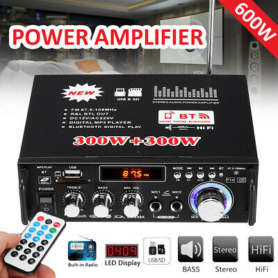 Vehicle Parts Car Digital Power Amplifier 600W Mic HIFI bluetooth Stereo USB &SD